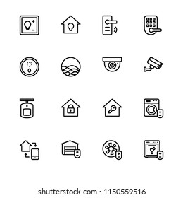 Smart home. Set outline icon EPS 10 vector format. Professional pixel perfect black & white icons optimized for both large and small resolutions. Transparent background.
