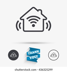 Smart home sign icon. Smart house button. Remote control. Flat icons. Buttons with icons. Thank you ribbon. Vector