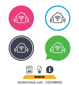 Smart home sign icon. house button. Remote control. Report document, information sign and light bulb icons. Vector