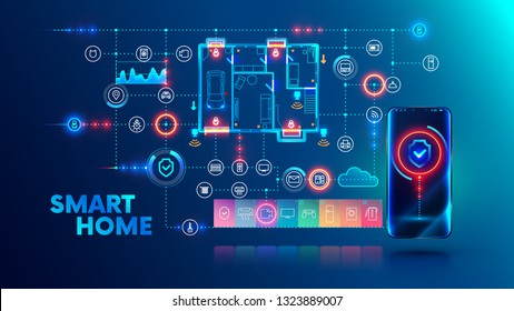 Smart home system concept. Phone controls house appliances and security via wireless network communication. Internet of things technology background with smartphone, icons devices, plan building.