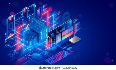 Smart home system develop. Internet of things. Engineering design digital infrastructure of house, configuration scripting of work smart devices. Phone app control IOT through 5g internet connection.