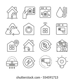 smart home system icons thin line style on white background