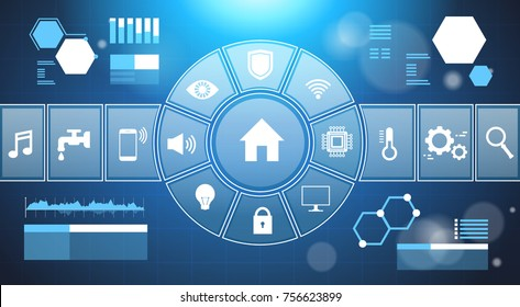 Smart Home System Infographic Template Banner Control Panel With Icons Modern House Automation Technology Concept Vector Illustration