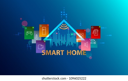 Smart home system. Internet of things concept. Header or banner with logo automation device house. Smart Technology background.