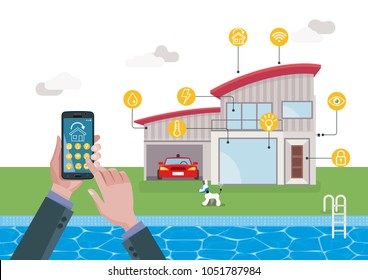 Smart home technology and automation system. Automation system with centralized control from a Mobile phone.