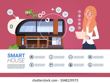 Smart Home Technology Banner With Womam Holding Digital Tablet Device With Control System