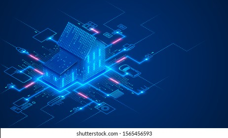 Smart home technology conceptual banner. Building consists digits and connected with icons of domestic smart devices. illustration concept of System intelligent control house on blue background. IOT.