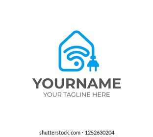 Smart home technology logo design. Smart home automation with wifi vector design. Smart house system logotype