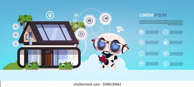 Smart Home Technology Of Robot Administration Infographic Banner, Modern Home System Of Control