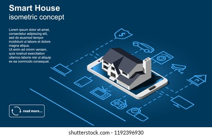 Smart home vector icon. Internet of things isometric illustration.