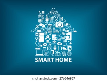 Smart Home vector illustration with home assembled with white icons / symbols. Blurred dark blue background