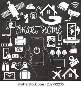 Smart Home vector illustration with home assembled with white icons hand drawing by chalk on black board