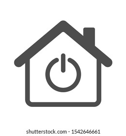 Smart house automation control system sign with power symbol. Smart home technology silhouette vector icon isolated on white background. Modern infographic icon for web, mobile apps and ui design