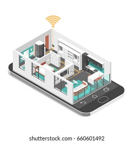 Smart house concept. Isometric image with apartment and smart phone. 3d vector illustration.