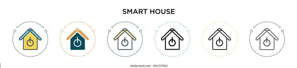 Smart house icon in filled, thin line, outline and stroke style. Vector illustration of two colored and black smart house vector icons designs can be used for mobile, ui, web