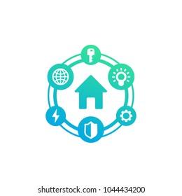 Smart house icon, green on white