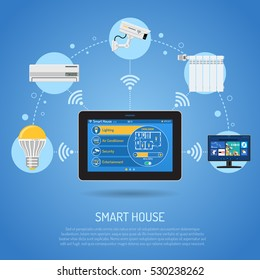 Smart House and internet of things concept. tablet PC controls smart home like security air conditioner and smart tv flat icons. vector illustration