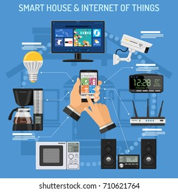 Smart House and internet of things concept with flat icons. Man holding smartphone in hand and controls smart home devices like security camera, TV, lightbulb. isolated vector illustration
