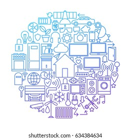 Smart House Line Icon Circle Design. Vector Illustration of Home Technology Objects.