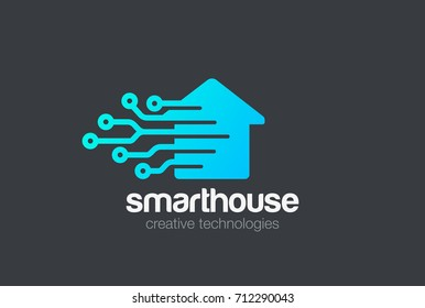 Smart House Logo design vector template. Digital Electronics Chip control Home Logotype concept icon.