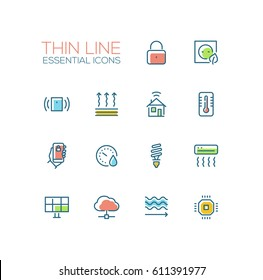 Smart House - modern vector thin line design icons and pictograms set with accent color. Padlock, energy saving, alarm system, climate control, mobile device, solar battery, heat leak, microchip
