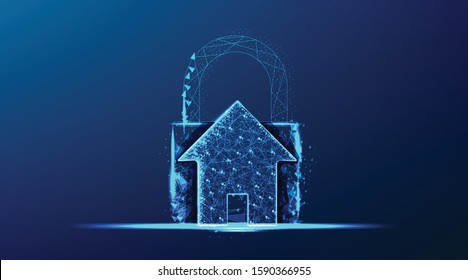 smart house and padlock. protection security from crime. abstract low poly wireframe mesh design. from connecting dot and line. vector illustration on blue background