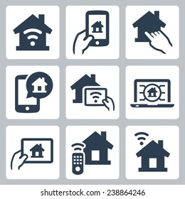 Smart house system vector icon set