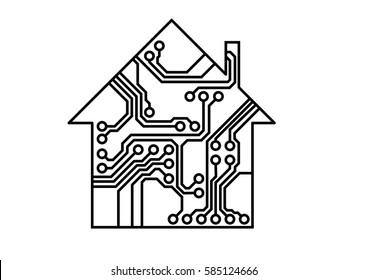 Smart household vector, simple printed circuit board