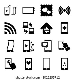 Smart icons. set of 16 editable filled smart icons such as hand on smartphone, photo with heart, touchscreen, phone and earphones, signal, home connection, laptop connection
