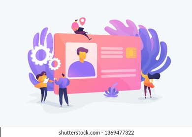 Smart ID card, electronic identity card, plastic smartcard and personal information chipcard concept. Vector isolated concept illustration with tiny people and floral elements. Hero image for website.