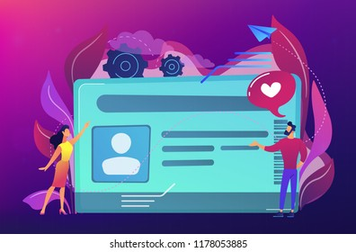Smart ID card with photo and users. Identification microchip and electronic identity card, plastic smartcard, personal information chipcard concept, violet palette. Vector isolated illustration.