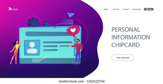 Smart ID card with photo and users. Identification microchip and electronic identity card, plastic smartcard, personal information chipcard concept, violet palette. Website landing web page template.