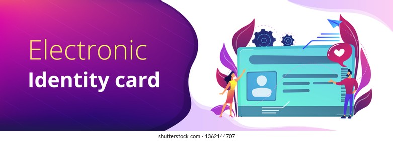 Smart ID card with photo and users. Identification microchip and electronic identity card, plastic smartcard, personal information chipcard concept, violet palette. Header or footer banner template.
