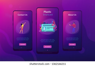 Smart ID card with photo and users. Identification microchip and electronic identity card, plastic smartcard, personal information chipcard concept, violet palette. UI UX GUI app interface template.