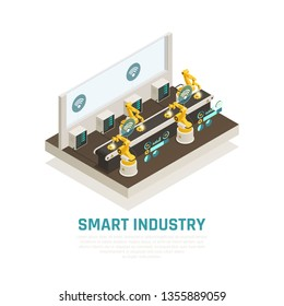 Smart indusrty composition with conveyor technology symbols isometric vector illustration