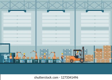 smart industrial factory in a flat style with workers, robots and assembly line packing. Vector and illustration of manufacturing building