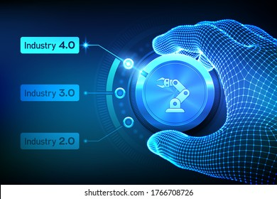 Smart Industry 4.0 concept. Industrial revolutions steps. Wireframe hand turning a knob and selecting industry 4.0 mode. Factory automation. Autonomous industrial technology. Vector illustration. - Shutterstock ID 1766708726