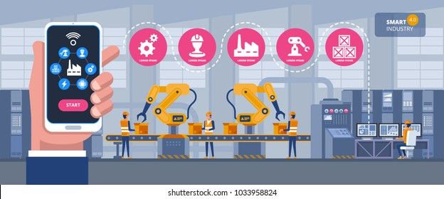 Smart industry 4.0 infographic. Man connecting with a factory using smartphone and exchanging data with a neural network. Artificial intelligence. Vector illustration.