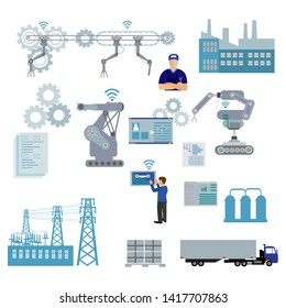 Smart industry 4.0 infographic. Man connecting with a factory using smartphone and exchanging data with a neural network. Artificial intelligence. Milling machining processVector illustration.