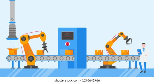 Smart industry 4.0 and technology assembly line flat style design vector illustration concept. Production conveyor belt and operator production line with robot arms, cardboard boxes and automated line