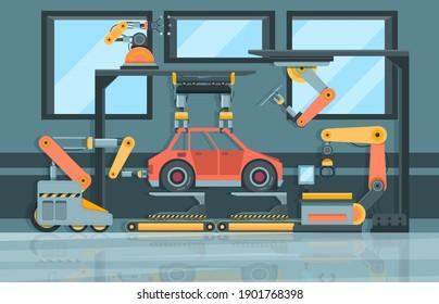 Smart industry. Conveyor with robotic hands machining systems garish vector cartoon background