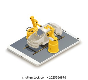 Smart industry intelligent manufacturing isometric composition with 2 robotic arms in automotive assembly line vector illustration