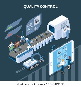 Smart industry intelligent manufacturing isometric composition with text and automatic assembly line operated remotely from tablet vector illustration