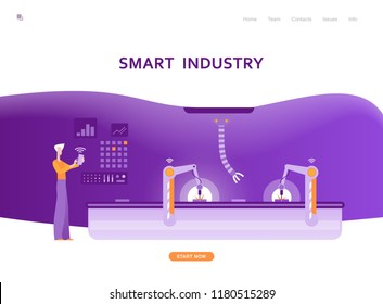 Smart industry, robotic factory, industrial revolution 4.0, automated production process, controlled by man. Vector illustration