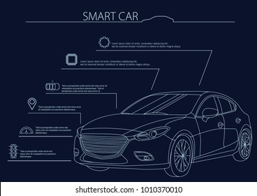 Smart or intelligent car vector concept. Futuristic automotive technology with autonomous driving, driverless cars. Vector illustration.
