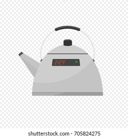 Smart Kettle Isolated on Transparent Light Background. Kettle with Display. Controls over WiFi Internet. The Internet of Things. Web Icon. Flat Vector Illustration.