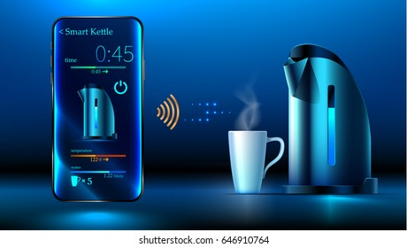 smart kettle is on the table. Smartphone controls smart kettle over wifi internet. Control interface smart kettle over a wireless connection. The Internet of things. Smart kitchen