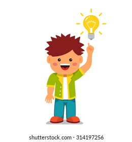Smart kid having a bright idea. Holding index finger up and pointing to a glowing light bulb. Flat style vector cartoon illustration isolated on white background.