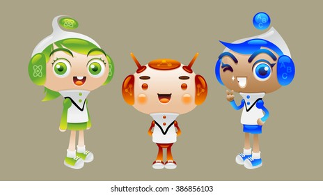 Smart kids and robot cartoon character design