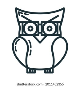 Smart knowledge owl icon, educational institution process, back to school outline flat vector illustration, isolated on white. Concept supplies symbol, community college.